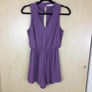Lush Front & Back Purple Keyhole Boho Romper S